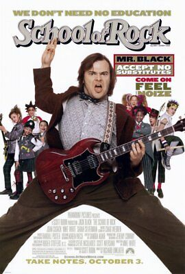 SCHOOL OF ROCK MOVIE POSTER 2 Sided ORIGINAL 27x40 RICHARD LINKLATER JACK BLACK