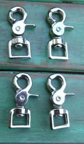 Lot 4 Nickel Plated Trigger Scissor Rein Snaps Flat Square End Swivel 3/4""
