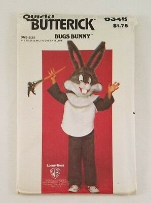 Butterick Bugs Bunny Childrens Costume #6348 Boys & Girls Sm Med Lg Looney - Bugs Bunny Costume Kids