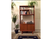 Vintage Mid Century Schreiber designer 1970s teak effect room divider / shelving unit Gplan style