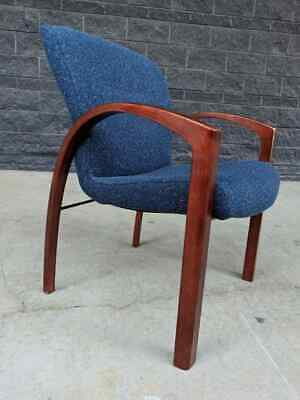 Modern Gentry Guest Chair By Steelcase W Navy Blue Tweed Cherry Finish 1998