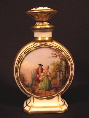 Rarer alter Porzellanflakon handbemalt Biedermeier um 1840