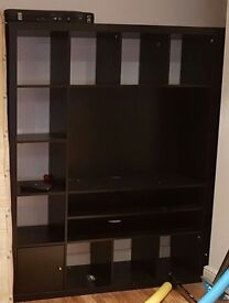 Black IKEA expedit tv, bookcase, storage unit