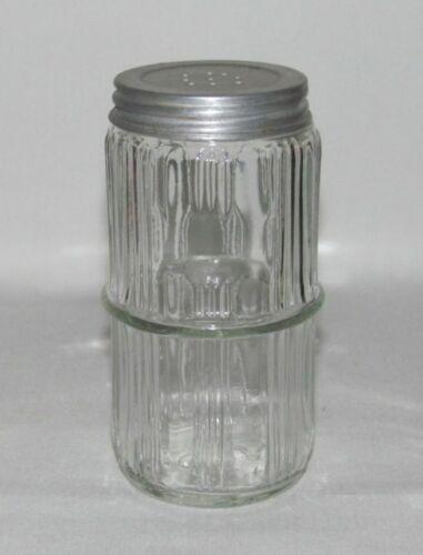 Kitchenware Vintage Glass HOOSIER RIBBED Crystal Ringed Single Spice Shaker
