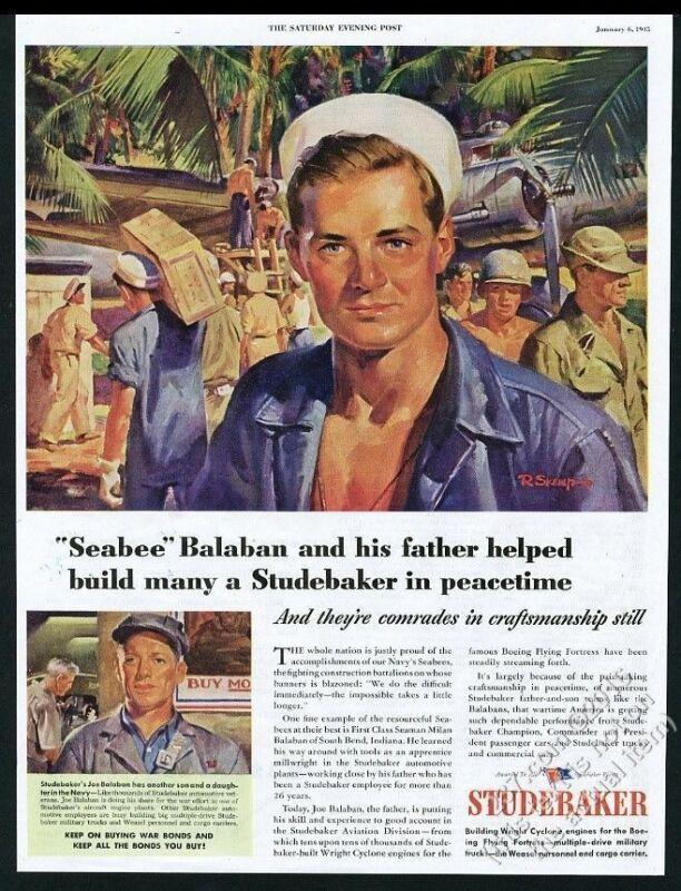 1945 US Navy Seabees art Studebaker vintage print ad