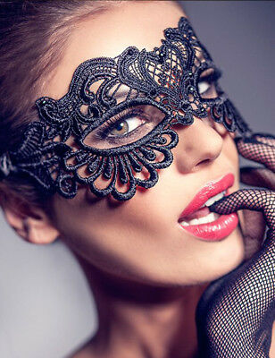 Masquerade Eye Mask Ladies BLACK LACE Gothic Fancy Dress Hen Party Halloween Enc ()