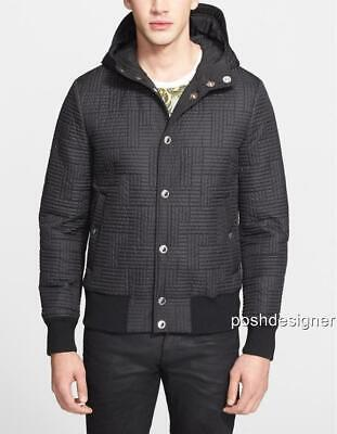 Versace Collection Black Padded Jacket Coat Hoodie IT50 M , rrp690GBP