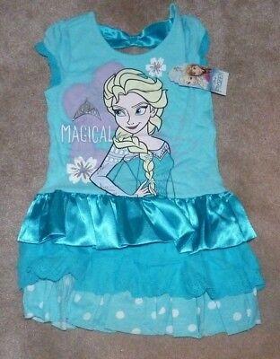 Frozen Dress For Little Girls (NEW DISNEY Frozen Magical Elsa Eyelet Satin Dress Little Girls 6X Blue)