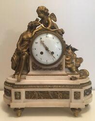 Tiffany & Co. Antique Marble & Bronze Mantle Clock Angel & Seated Bronze Woman