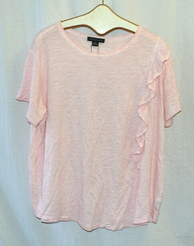Sanctuary Women's Pink Size 2X  Round Neck Short Sleeve Tee