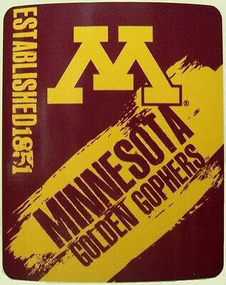 """Blanket Fleece Throw NCAA Minnesota Golden Gophers NEW 50""""x60"""" protective sleeve"""