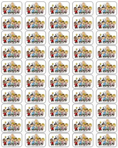 """50 Peanuts Gang Envelope Seals / Labels / Stickers, 1"""" by 1.5"""""""