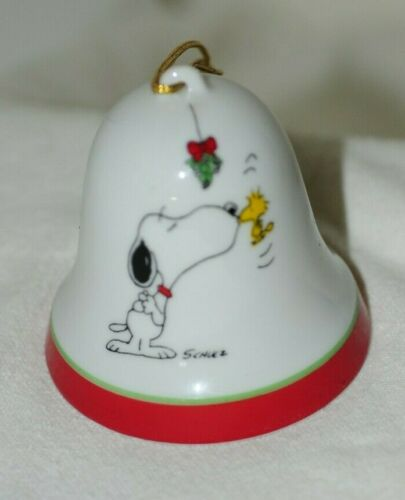 Vintage Peanuts Porcelain Bell Christmas Snoopy Woodstock 1958 1965 Japan