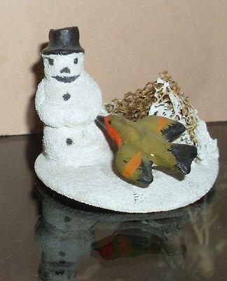 Antique German Compo Snowman w/Bird