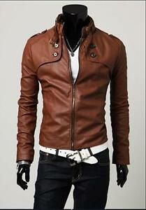 Men's Fashion PU Leather Short Slim Fit Top Jacket Coat Outerwear Sexy 3 color