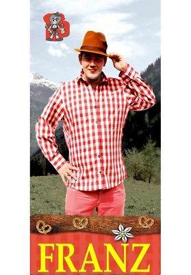 Karohemd Franz rot weiß Größe 50-58 Oktoberfest Hemd Tirolerhemd 121227/04G13