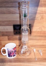 Large Glass Double Filtered, Triple chillum Water Pipe / Bubbler