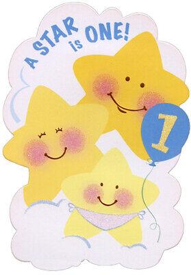 Three Smiling Stars Die Cut Top Fold Age 1 / 1st Birthday (Die Cut Birthday Card)
