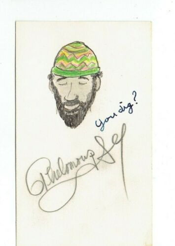 THELONIOUS S. MONK SIGNED POSTCARD WITH ORIGINAL ARTWORK VINTAGE 1960