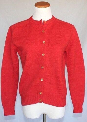 Vintage Womens Wool Cardigan Sweater Large Orange 50s 60s Rockabilly Pin Up T09