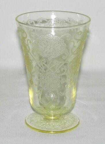 Hazel Atlas Glass Co. FLORENTINE No.2 Poppy Yellow Footed Water Tumbler