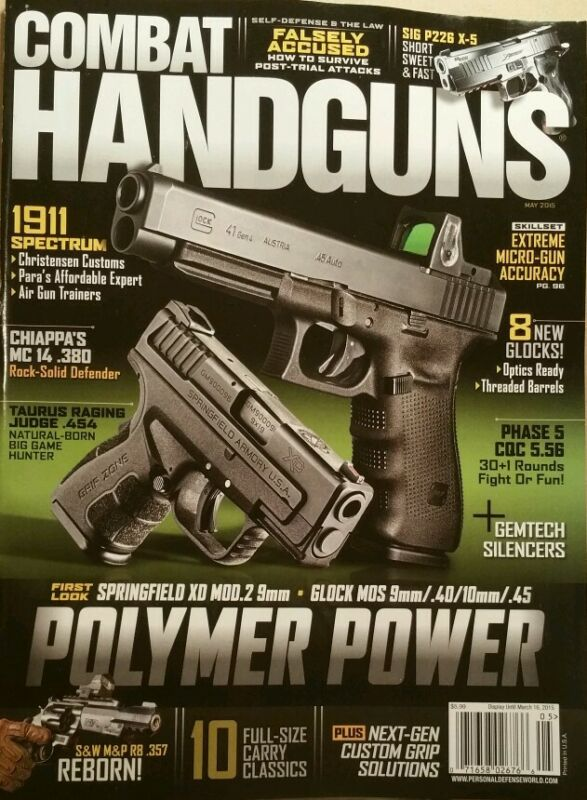 Combat Handguns Polymer Power 8 New Glocks 1911 Spectrum May 2015 FREE