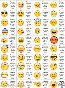 40 x personalised emoji labels stickers birthday party for Fenetre meaning in english
