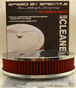 SPECTRE PERFORMANCE CHROME AIR CLEANER ASSEMBLY RED FILTER 9