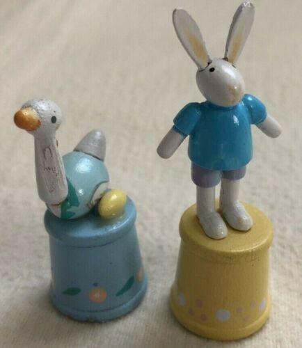 2 WOOD THIMBLES RABBIT DUCK Bunny Egg Barrels COLLECTIBLES Handmade