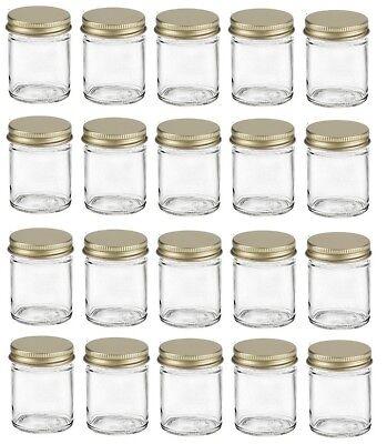 2 Oz Jars Wholesale (Nakpunar 20 pcs, 2 oz Glass Jars with Gold Metal Lid for Creams Spice Honey)