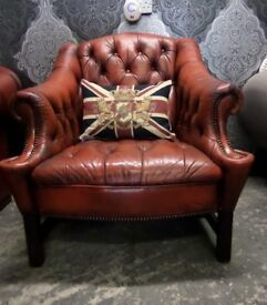 Stunning Chesterfield Unique Bucket Arm Chair Oxblood Red Leather UK Delivery