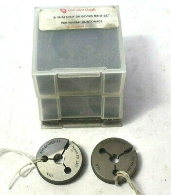 Vermont Gage 516-24 Unjf 3a Thread Ring Gage G No Go Ng With Case