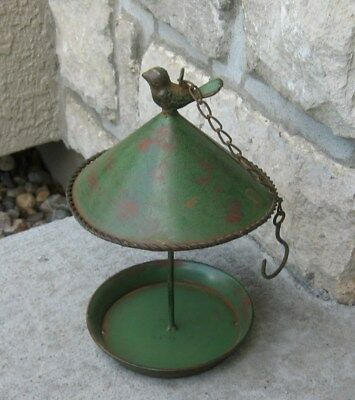 BIRD FEEDER*Galvanized GREEN Metal*Primitive/French Country Farmhouse Tree Decor