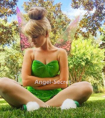 P556 Tinkerbell leaf print dress green rhinestones cosplay adult women - Tinkerbell Dress Womens