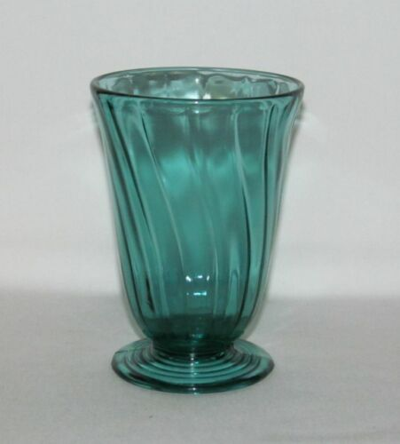 "Jeannette Glass Co SWIRL ""Petal Swirl"" Ultramarine Footed Water Tumbler"