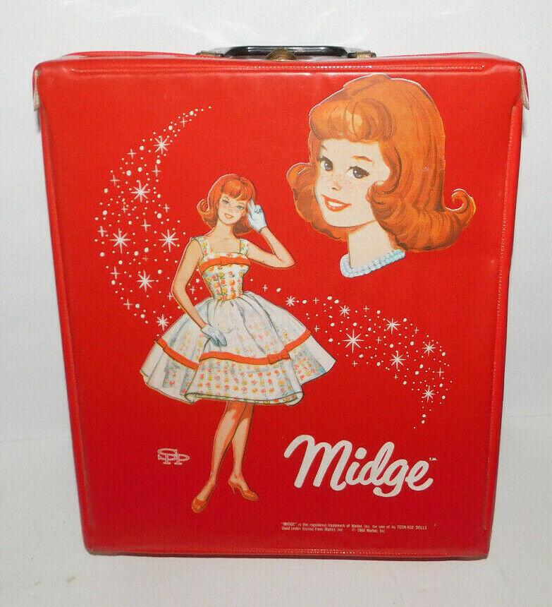 NEAT VINTAGE 1964 MATTEL MIDGE DOLL RED CARRY CASE - $24.95