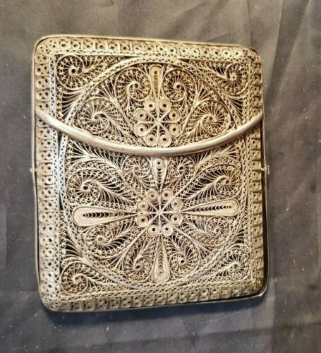 """ANTIQUE SILVER FILIGREE LACE CIGARETTE CASE - 4"""" BY 3 1/2"""" BY 1/2"""""""