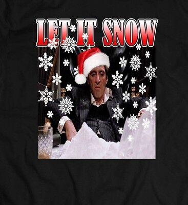 SCARFACE TONY MONTANA LET IT SNOW XMAS OLDSKOOL FULL FRONT Shirt *MANY OPTIONS*