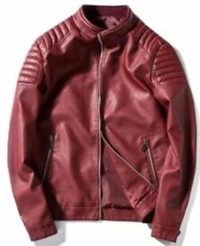 Men's Genuine Lambskin Leather Jacketed Red / Ox Blood Slim fit Biker jacket