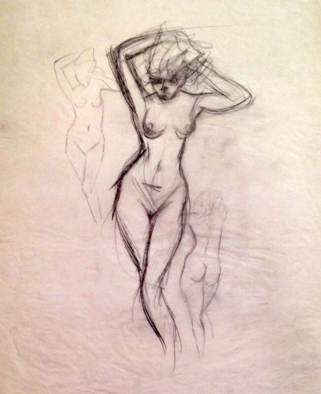 """Julian Ritter- Nude Ladies - Charcoal  on Vellum_ 19"""" x 21"""" Un-Signed-478"""