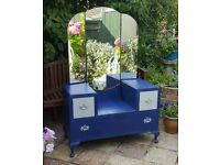 Beautiful Queen Anne Dressing Table & Chest - Mirror - Blue Navy Grey - Bedroom Furniture Storage