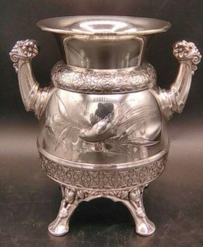 Antique Victorian Meriden & Company Silver Plate Vase / Urn Embossed Birds 1924