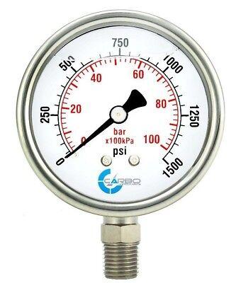 2-12 Pressure Gauge Stainless Steel Case Liquid Filled Lower Mnt 1500 Psi