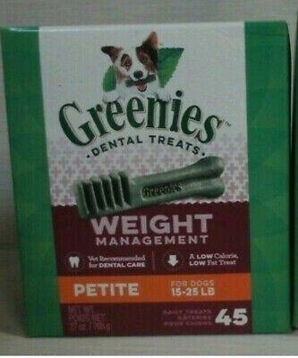 Greenies Weight Management Petite Dental Dog Treats - 45 treats, EXP 10/18