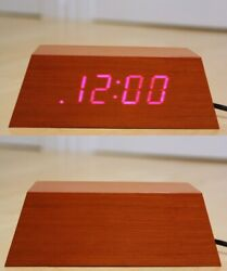 See-Thru Wood Wooden Block Desktop Hidden LED Digital Alarm Clock+Snooze (LARGE)
