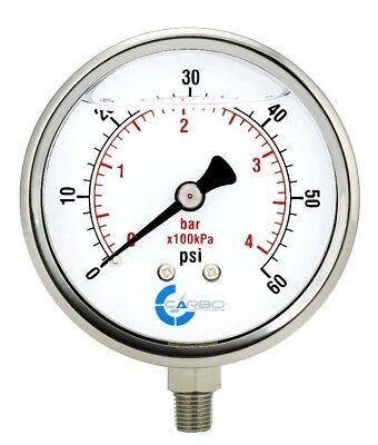 4 Pressure Gauge Stainless Steel Case Liquid Filled Lower Mnt 60 Psi