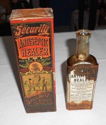 Vtg Security Stock Food Antiseptic Healer Bottle w/label Box Remedy Cure