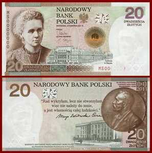 ★★★ Poland 20 zl P-182 Marie Maria SKLODOWSKA-CURIE  Comm NEW 2011 UNC Sold Out