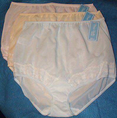 3 Pair Dixie Belle 100% Nylon Size 14 Panties Pastel Colors With Lace Frt Legs