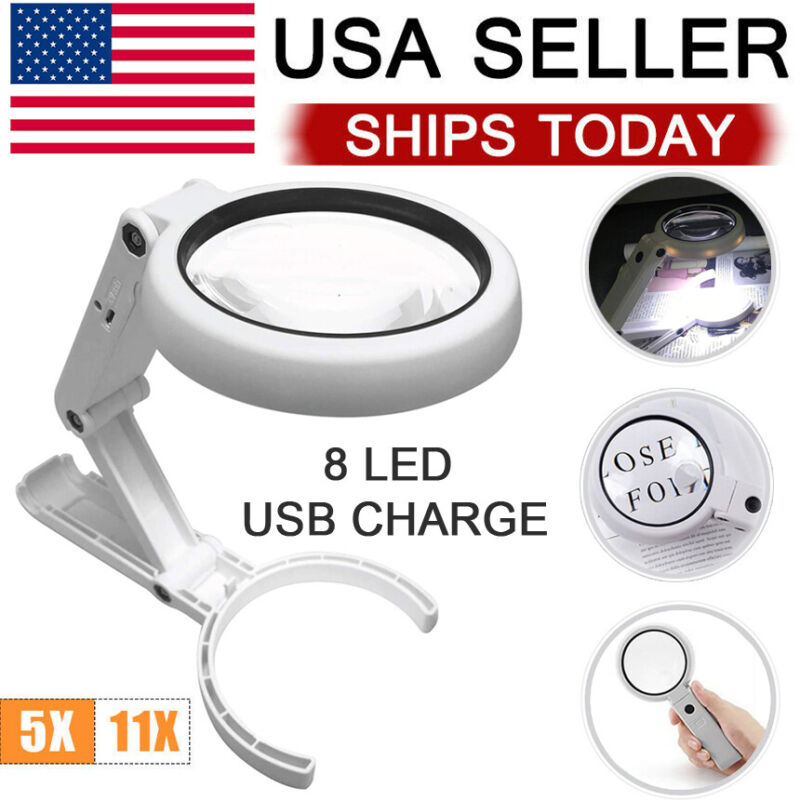 5/11X Magnifying Glass Stand Foldable Dimmable Magnifier With Light 8 LED LAMP